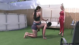 "Outside with my partner in crime we continue training a new slave by making him our human pony! Sitting on his back, my friend has him crawl on all fours while guiding him with a leash and laughing in delight the entire time. ""Now let Mistress E"